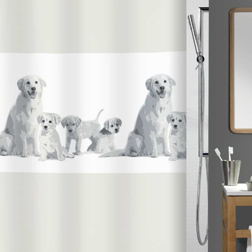 spirella family shower curtain with dog motive 180 x. Black Bedroom Furniture Sets. Home Design Ideas