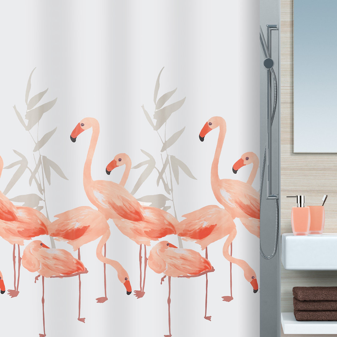 spirella flamingo textil duschvorhang clevershower. Black Bedroom Furniture Sets. Home Design Ideas