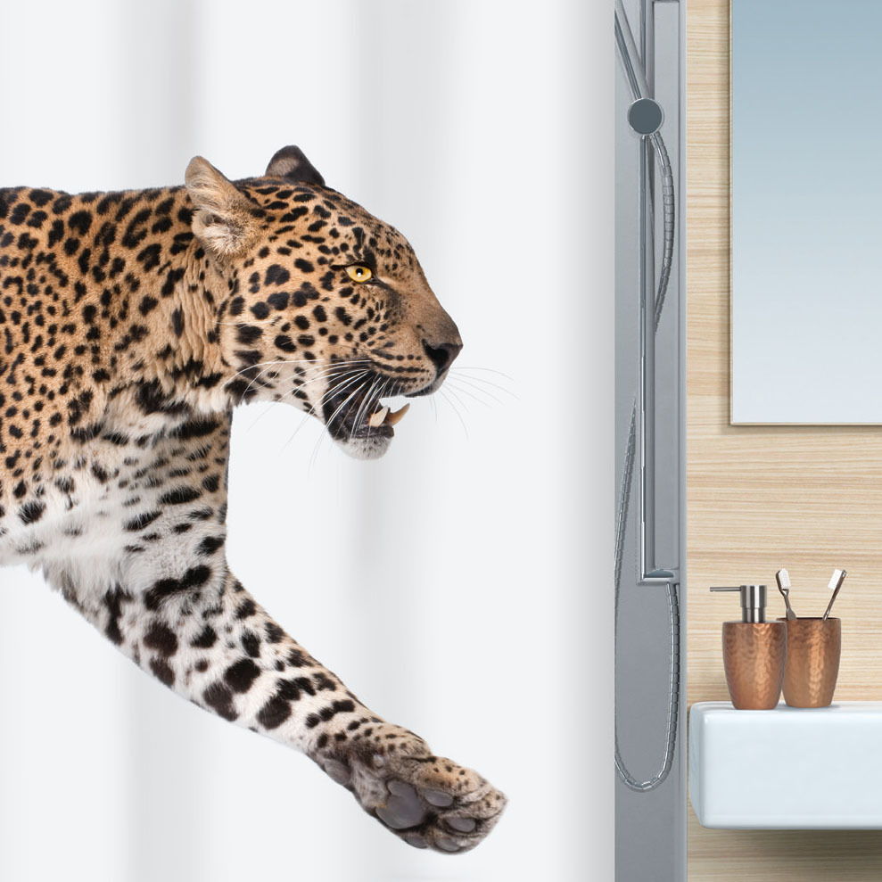 spirella leopard textil duschvorhang clevershower. Black Bedroom Furniture Sets. Home Design Ideas
